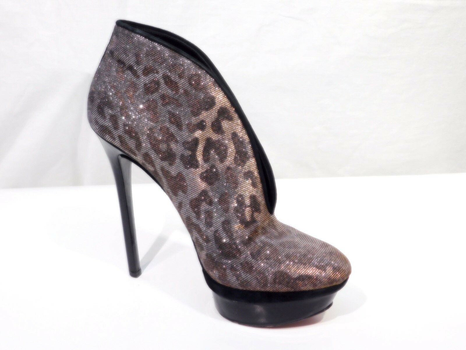 Brian Atwood Pumps 7.5 38 Glitter Metallic Glitter 38 Animal Print Evening Heels 600e8e