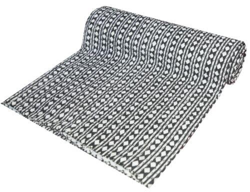 Indian Handmade Twin Cotton Indian Hand Block Twin Kantha Quilt Throw Blanket