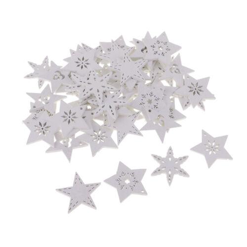 50 Stück Weiße Hölzerne Schneeflock Verzierung Holzscheiben für Kunst
