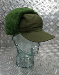 Genuine Swedish Army Olive Drab Green Cold Weather Dog / Trapper Hat 58cm DK1