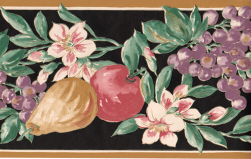 Kitchen Country Apple Grape Pear Fruit Flower Floral Black Tan Wall paper Border