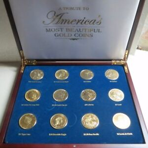 AMERICA-039-S-MOST-BEAUTIFUL-GOLD-COINS-12-Coin-Copy-Set-Gold-Clad-in-Oak-Display