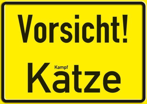 VORSICHT KATZE FUNSCHILD 10x15 cm Blechkarte Blechschild 15015