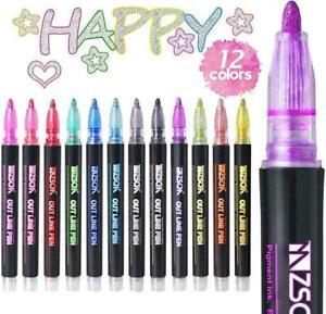 12pcs//set Metal Marker Pen for Glitter Highlight Diy Scrapbooking School Supplie