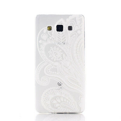 Henna White Floral Flower TPU Case Cover Skin for Samsung Galaxy A5 POP