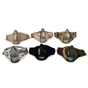 Airsoft-Mask-Half-Face-Metal-Steel-Net-Mesh-Mask-Hunting-Tactical-Protective-YJ