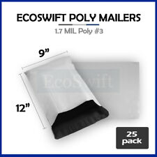 25 9x12 White Poly Mailers Shipping Envelopes Self Sealing Bags 17 Mil 9 X 12