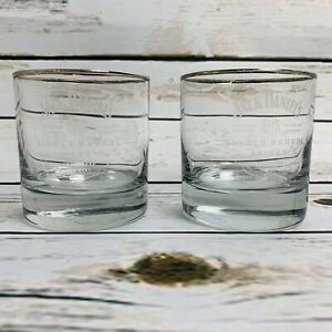 Jack-Daniels-Whiskey-Glasses-Set-of-2-Etched-Clear-Gold-Rim
