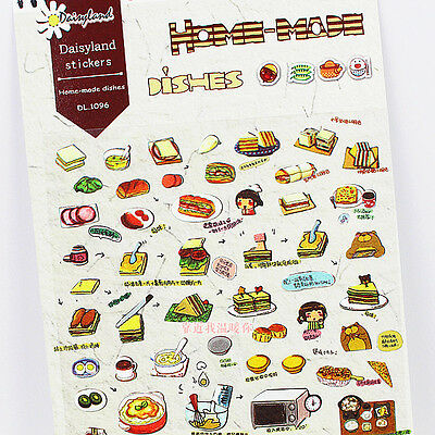 1 sheet japan stickers scrapbook Paper dishes food drink cake food
