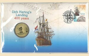 Australia-2016-Dirk-Hartog-039-s-Landing-400-Years-PNC-Stamp-amp-1-UNC-Coin-Cover