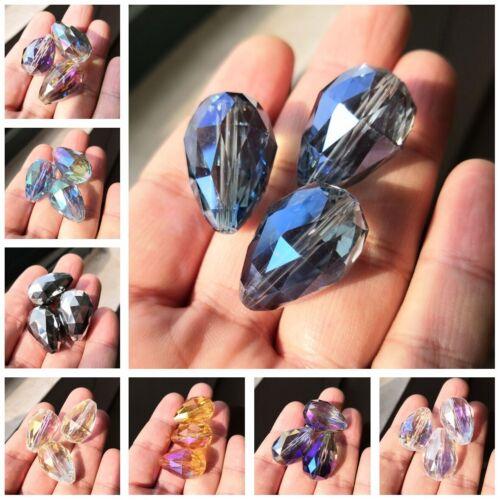 2pcs 24X17mm Faceted Teadrop Glass Crystal Loose Pendant Drop  Spacer Beads DIY