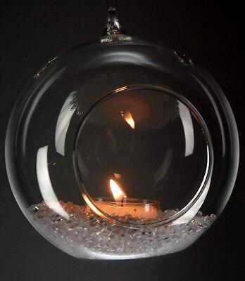 "2"" Dia. Clear Hanging Glass bauble Vase candle holdersTerrarium  6 Pcs"