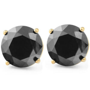 2-Ct-Black-Diamond-Studs-14k-Yellow-Gold-Earrings