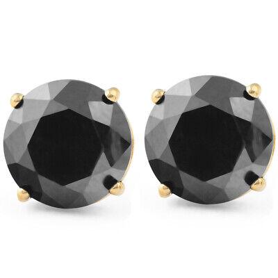 2 Ct Black Diamond Studs 14k Yellow Gold Earrings 702511185497   eBay