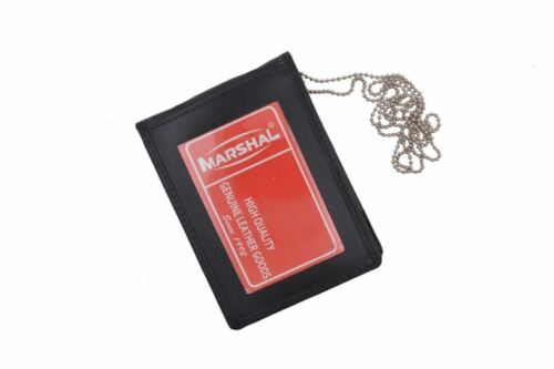 Officer Security Genuine Leather Badge ID Holder Neck Chain Tactical Hanger