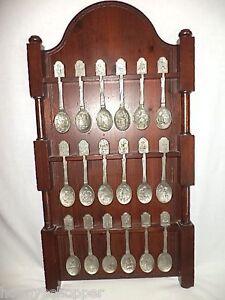 Rare-Original-Franklin-Mint-1977-Craftsmen-America-Rack-and-18-Souvenir-Spoons