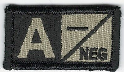 Coyote Brown Black Military Blood Type A- Negative Hook Fastener Patch