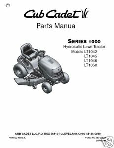 cub cadet parts manual for lt1042 lt1045 lt1046 lt1050 ebay rh ebay com cub cadet owners manual lt1050 Cub Cadet LT1050 25 V-Twin Wiring-Diagram