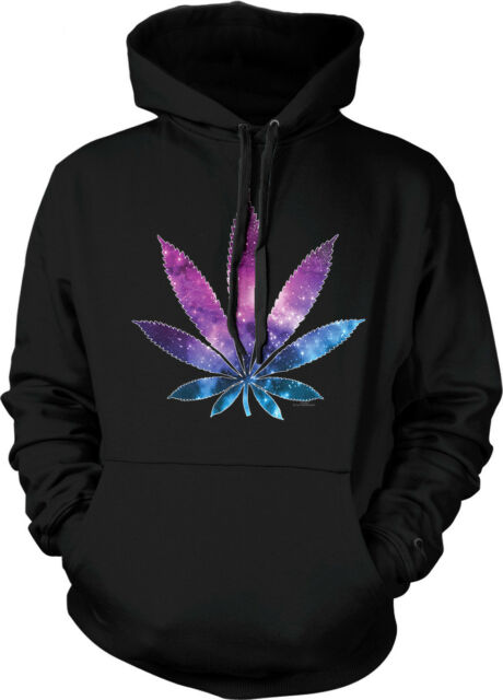 Galaxy Pot Leaf Weed Marijuana 420 Stars Stoner Toke Hoodie Pullover Sweatshirt