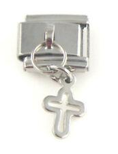 1 Silver Religious Cross Dangle 9MM Stainless Steel Italian Charm