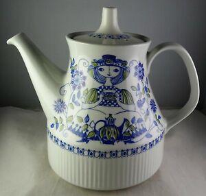 Blue Purple and Green on White Norwegian Antique Teapot Ceramic