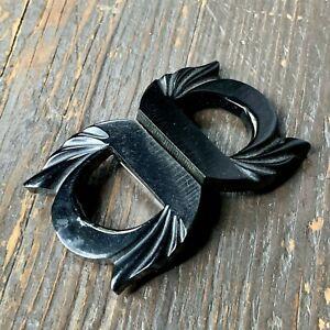 Vintage BAKELITE Black Carved Belt Buckle