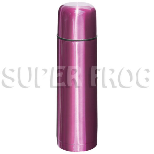 Stainless Steel Thermos Flask Vacuum Bottle Push Button Lid Insulated Cup 500ml Pink