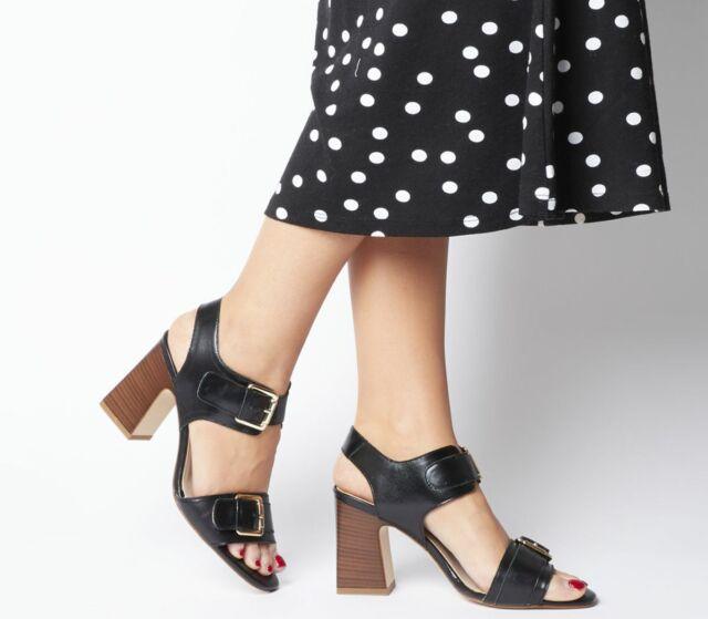 c5c7169c663 Womens Office Melanie Two Part Buckle Sandals Black Groucho Leather Heels