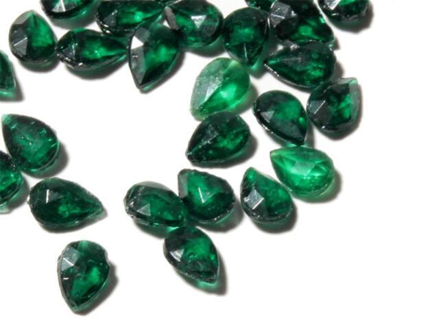 Lot (190) 5mm Czech vintage teardrop faceted dark green glass rhinestones