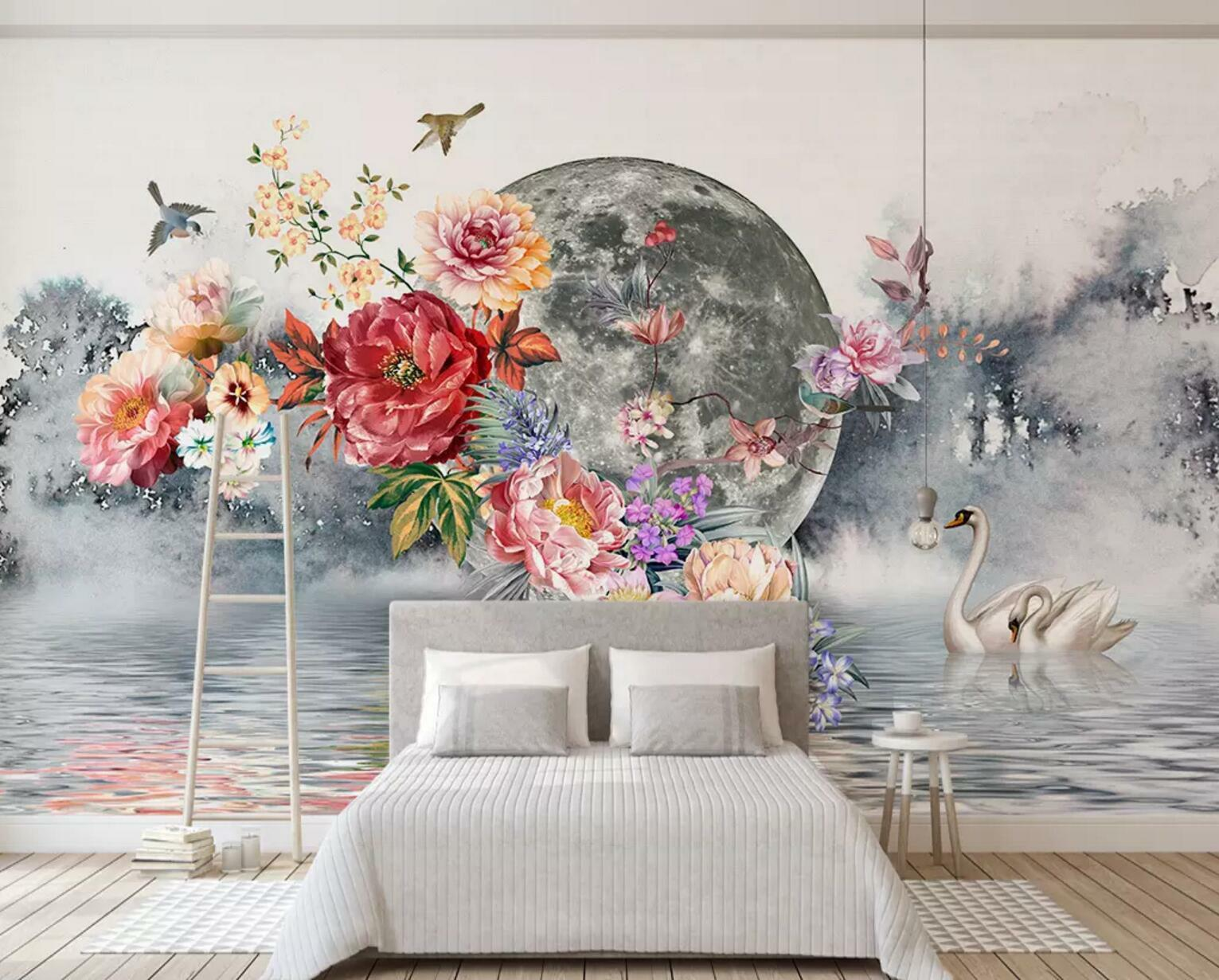 3D Swan Bird Flower 323 Wall Paper Exclusive MXY Wallpaper Mural Decal Indoor