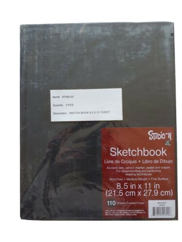 "3 x Studio 71 Sketch Book 8.5/""X11/""-110 Sheets"