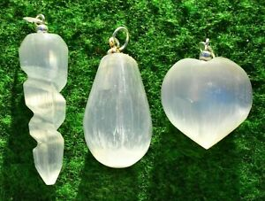 Selenite Crystal Pendant Heart-Swirl-Pear Drop Jewellery Fresh New Stock✔ 2-3cm
