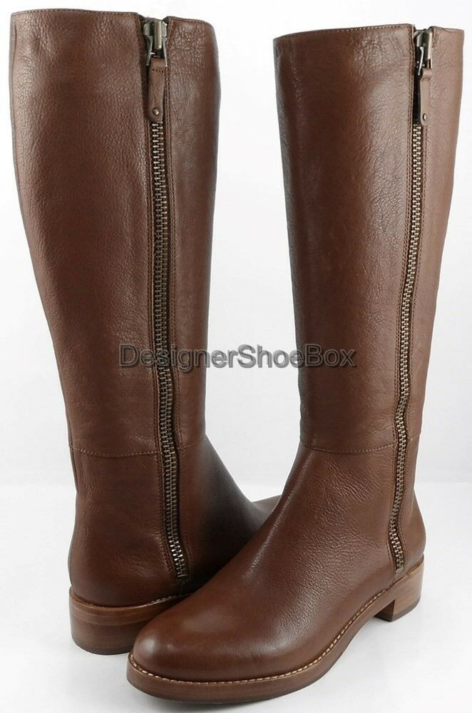398 VIA SPIGA GRETCHEN Cognac Leather Low Heel Designer Riding Boots 10 M