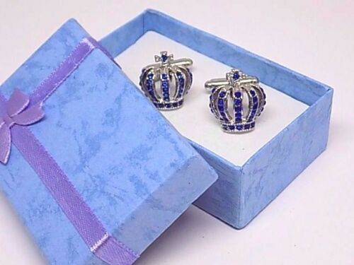 Gift Boxed! Silver Royal Crown Cufflinks W//Blue Rhinestones
