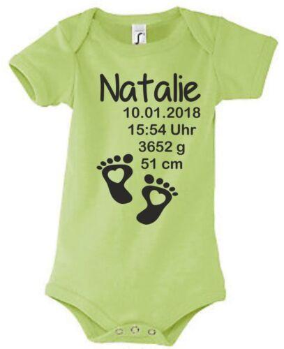Babybody Strampler Geburt bedruckt Druck Größe Datum Gewicht Wunsch Name 57
