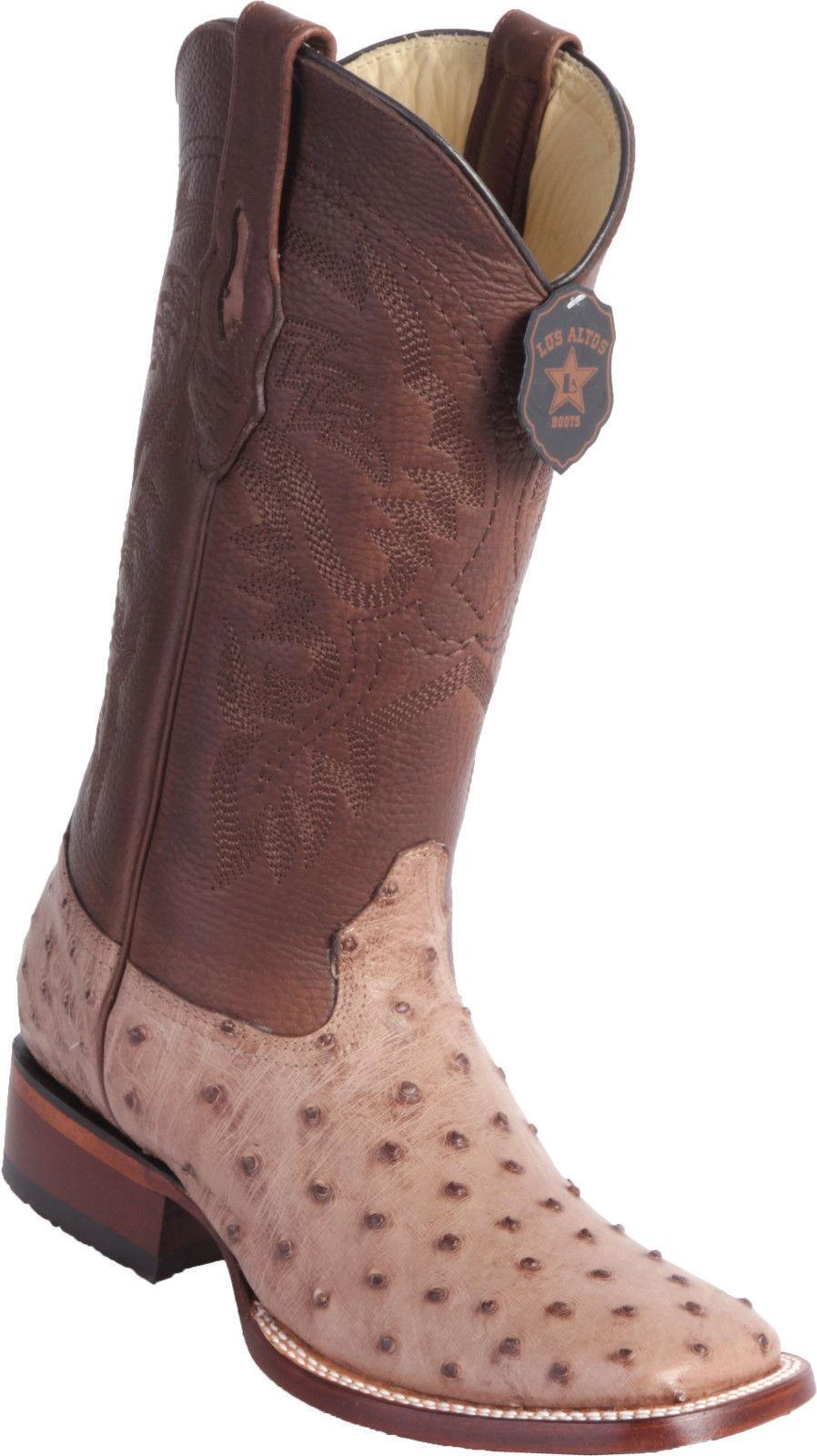 Los Altos Genuine MOKA Ostrich Square Toe Western Cowboy Boot EE