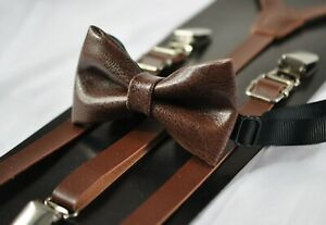 Dark-Brown-Coffee-Faux-Leather-Bow-tie-Brown-Suspenders-Braces-for-all-ages