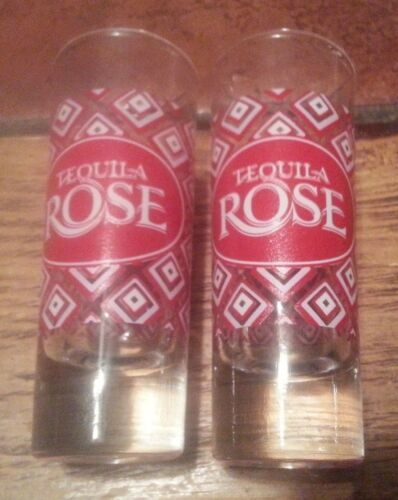 "Set of 2 Tequila Rose 4"" Tall Glass Shot Glasses Collectible Nice Condition"