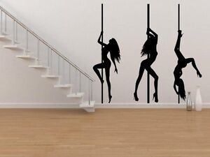 Image Is Loading Set Of 3 Pole Dancers Silhouette Large Y