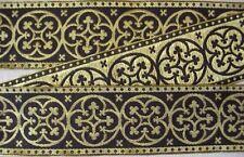 3 Yards Gothic Medieval Style Jacquard Trim Cerulean Blue Gold Vestment 2 38