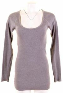 JACK-WILLS-Womens-Top-Long-Sleeve-UK-10-Small-Grey-Cotton-Slim-Fit-KJ04