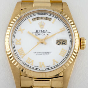Rolex-Men-039-s-18038-President-Day-Date-Automatic-18k-Yellow-Gold-Watch-36-mm