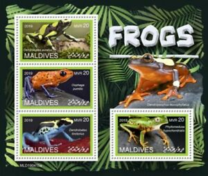 Maldives-2019-Frogs-on-Stamps-4-Stamp-Sheet-MLD190415a