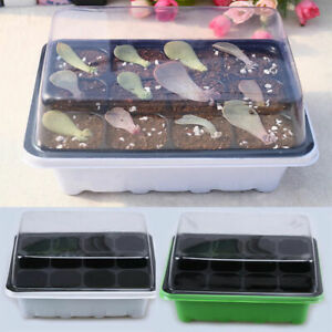 Gardening-Supplies-Plant-Seedling-Starter-12-Nursery-Pots-Trays-Box-With-Dome