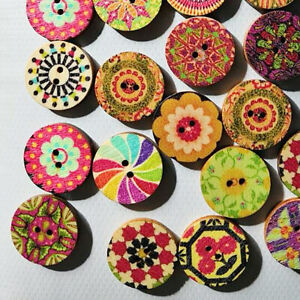 100X-MIXED-VINTAGE-FLOWERS-WOOD-BUTTONS-SCRAPBOOKING-SEWING-CRAFT-20MM-ROSY-SMAR