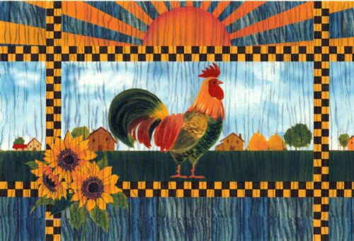 "Good Morning Rooster Sun 1 pc 11-1//2/"" X 7-1//2/"" Waterslide Ceramic Decal Xx"