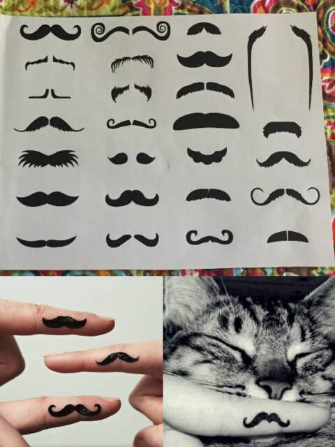 Fingerstache Finger Moustache Tattoos Photo Booth Costume Party Mo Movember Fun