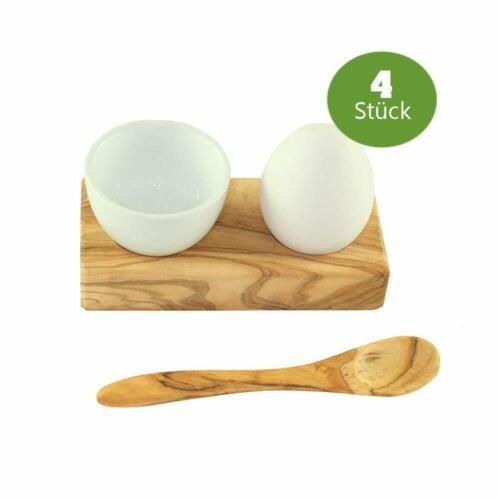 4 x Designer Eierbecher hochwertiges Olivenholz auf Ständer Löffel Porzellan