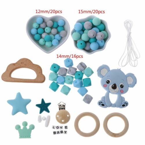 Baby Wooden Teether Teething Ring Necklace Bracelet Silicone Beads Pacifier Clip