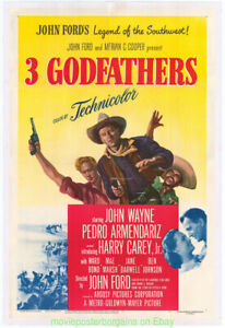 3 PADRINI FILM POSTER 27x41 Lino sostenuta in in perfetta condizione 1948 John Wayne